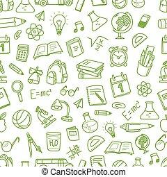 back to la escuela, tiza, doodles, seamless, pattern., educación, elementos, clip-art, para