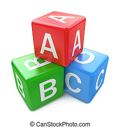 back to la escuela, y, educación, concept:, abc, color, brillante, cubos, con, cartas, aislado, blanco, plano de fondo