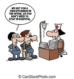 Back to office after accident - Cartoon joke about an...