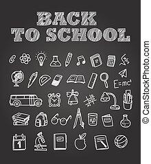 Back to scholl chalk doodles. Education elements clip-art ...