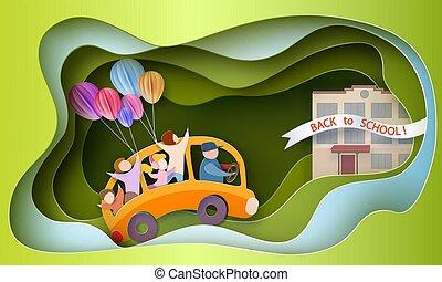 Back to school 1 september card. Children in bus