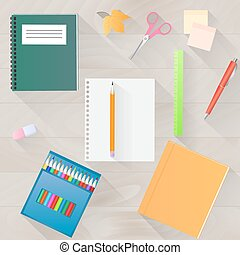 Back to school. A set of stationery with a long shadow. Desktop top view.