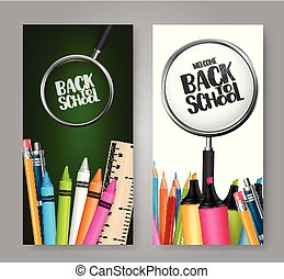 Back to school. A set of vertical banners with realistic study supplies. a concept for education shopping promotion. Vector illustration.