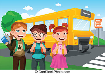 Back to school - A vector illustration of kids group of cute...