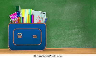 Back to school. A vintage backpack full of school supplies...