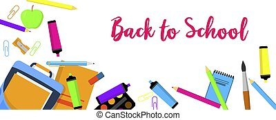 Back to school again banner horizontal, flat style - Back to...