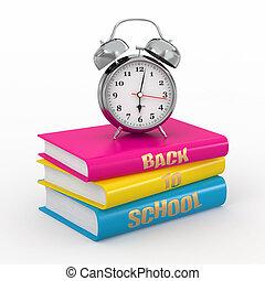 Back to school. Alarm clock on books.