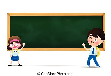 Back to school and education concept, Happy cartoon  kids  boy and girl in student uniform and black board with copy space over white background vector illustration eps10