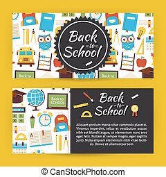 Back to School and Education Modern Flat Style Vector Template Banners Set