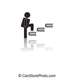 Back to School and Education vector flat icon in black and white style schoolboy climbing books