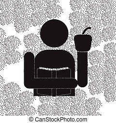 Back to School and Education vector flat icon in black and white style schoolboy holding book and apple