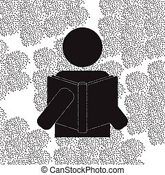 Back to School and Education vector flat icon in black and white style schoolboy reading a book