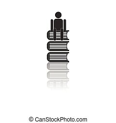 Back to School and Education vector flat icon in black and white style schoolboy sitting on books