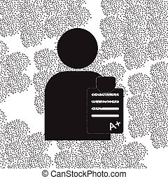 Back to School and Education vector flat icon in black and white style schoolboy with report card