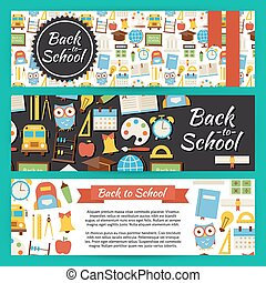Back to School and Education Vector Template Banners Set in Modern Flat Style