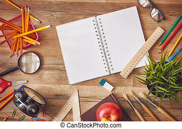 Wooden desk with supplies - Back to school and happy time!...