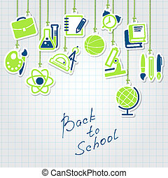 back to school and icon set