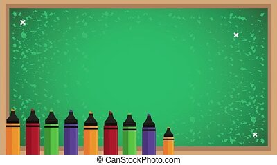 back to school animation with chalkboard and crayons ,4k video animated