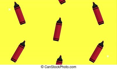 back to school animation with colors crayons pattern ,4k video animated