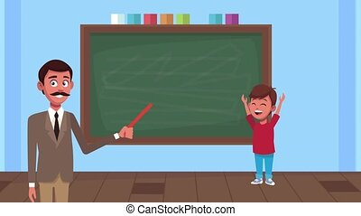 back to school animation with male teacher and schoolboy in classroom ,4k video animated