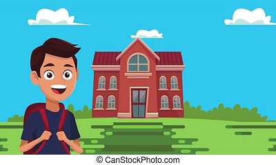 back to school animation with schoolboy and building ,4k video animated