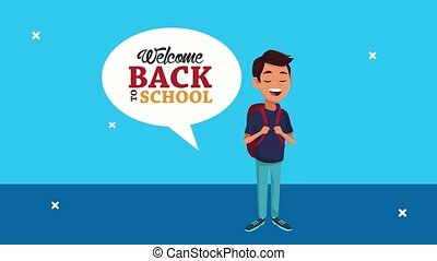 back to school animation with schoolboy character ,4k video animated