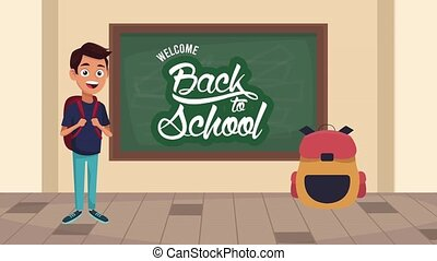 back to school animation with schoolboy in classroom character ,4k video animated