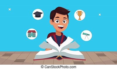 back to school animation with schoolboy reading book ,4k video animated