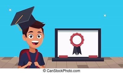 back to school animation with schoolboy using laptop ,4k video animated