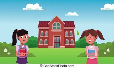 back to school animation with schoolgirls and building ,4k ...