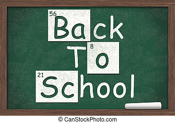 Back to School, Back to School written on a chalkboard with...
