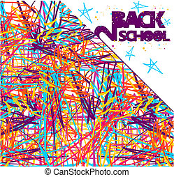 Back to school grunge background. Colorful texture of intersecting lines and blue stars on white