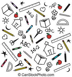 Blackboard Background for back to school, scrapbook, arts, crafts projects, with multicolor chalk drawings of apples, schoolhouses, books, rulers, pencils, pens, markers, protractors, crayons, scissors, ABCs, math, grade school doodles.