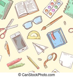 Back to School Background. Education Hand Drawn Seamless Pattern with Books, Notebook and Pen. Vector illustration