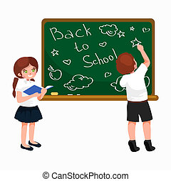 Back to school background, little girl and boy with books writing on blackboard for  concept banner or card illustration.