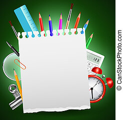 Back to school background or card with place for text. Vector illustration.