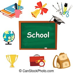 Back to school background set tools