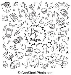 Back to school background. Sketches. Design elements. Vector...