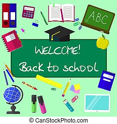 Back to school background, vector illustration.