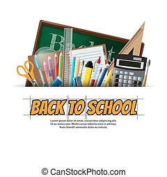 Back to school background, vector illustration