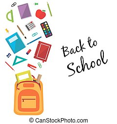 Back to school background with a bag