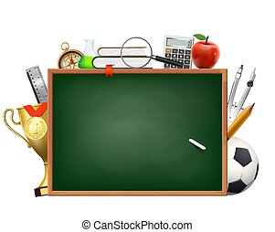 Back to school. Background with a blackboard and chalk. Accessories for study and education.