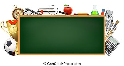 Back to school. Background with a blackboard and stationery