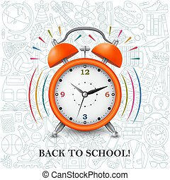 Back to school background with alarm clock and school pattern