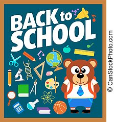Back to school background with bear