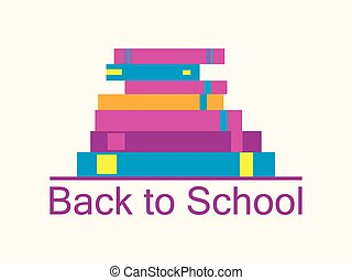 Back to school background with books. Bookshelf, textbooks are isolated on white background. School supplies icons. . Vector illustration