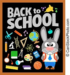 Back to school background with bunny