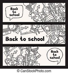 Back to school background with education hand drawn doodles.