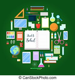 Back to School Background with Education Icon Set. Vector illustration