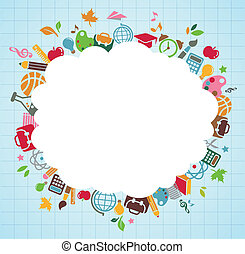 back to school - frame background with education icons, vector